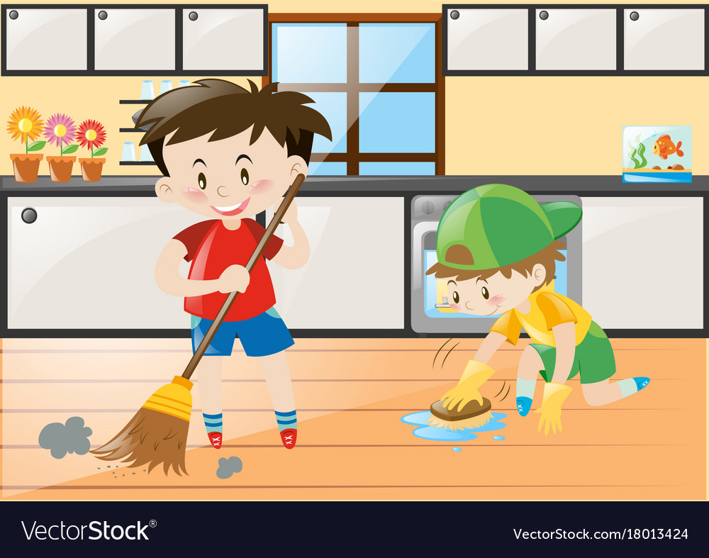 Two boys cleaning the kitchen at home