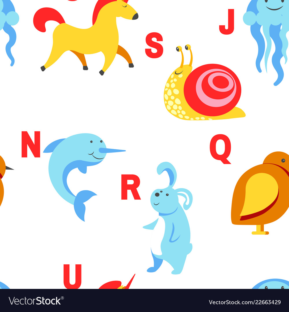 Alphabet animals and letters study material for