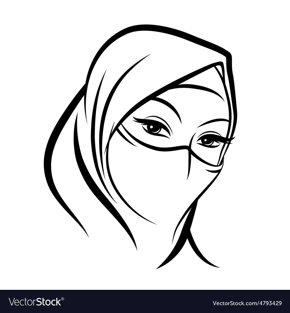 Arab muslim woman face vector image