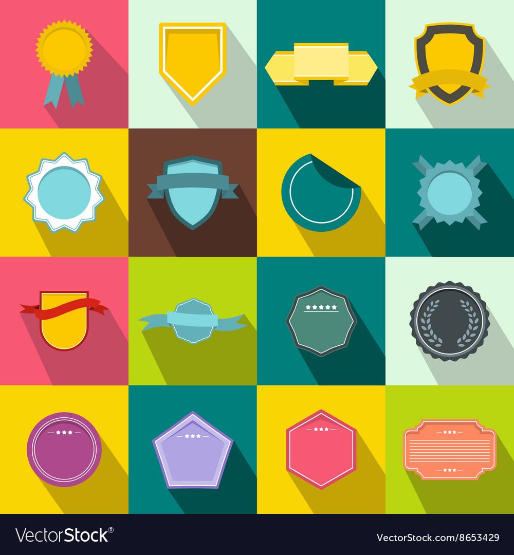 Badges icons set flat style