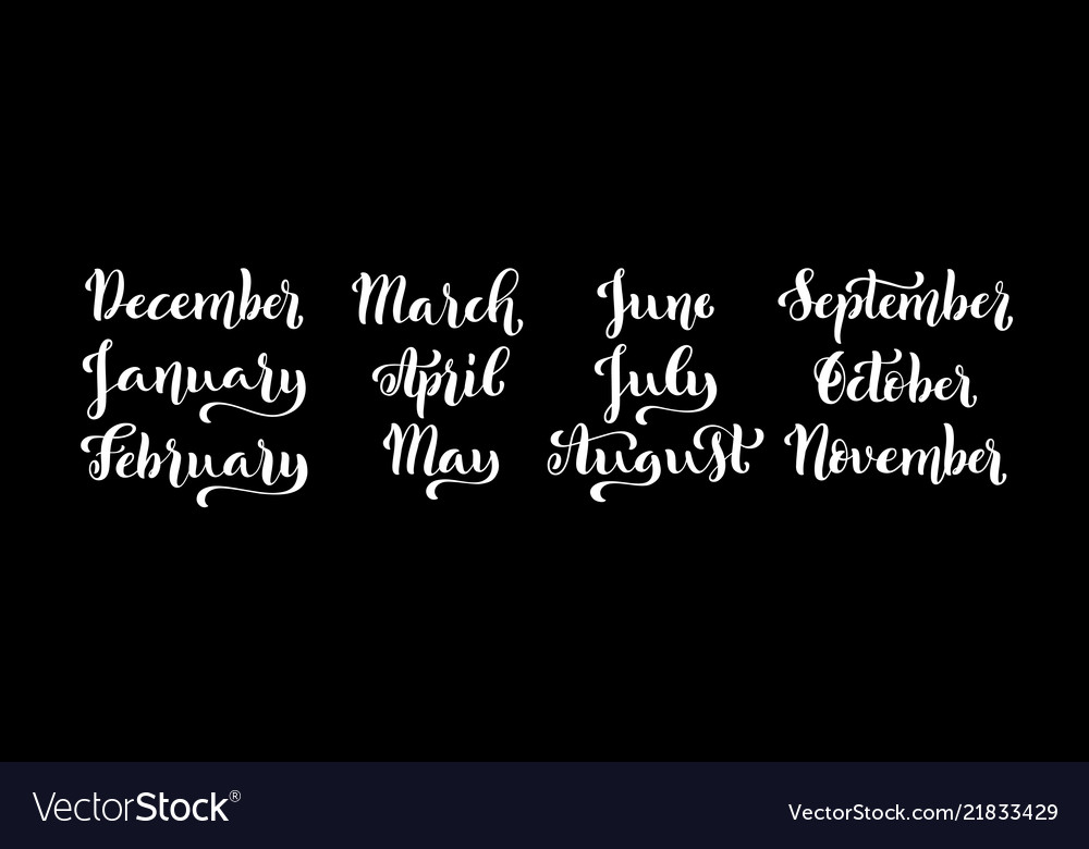 Calligraphic set of months of the year december