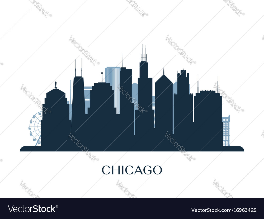 chicago skyline monochrome silhouette royalty free vector