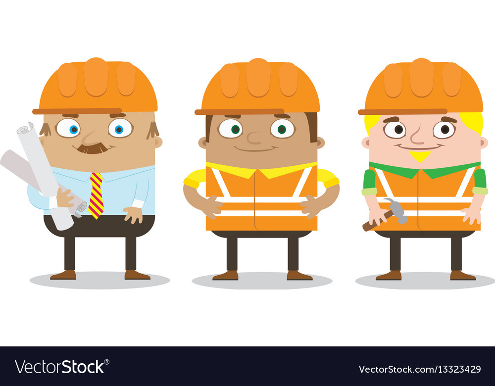 Colorful construction workers in helmets for