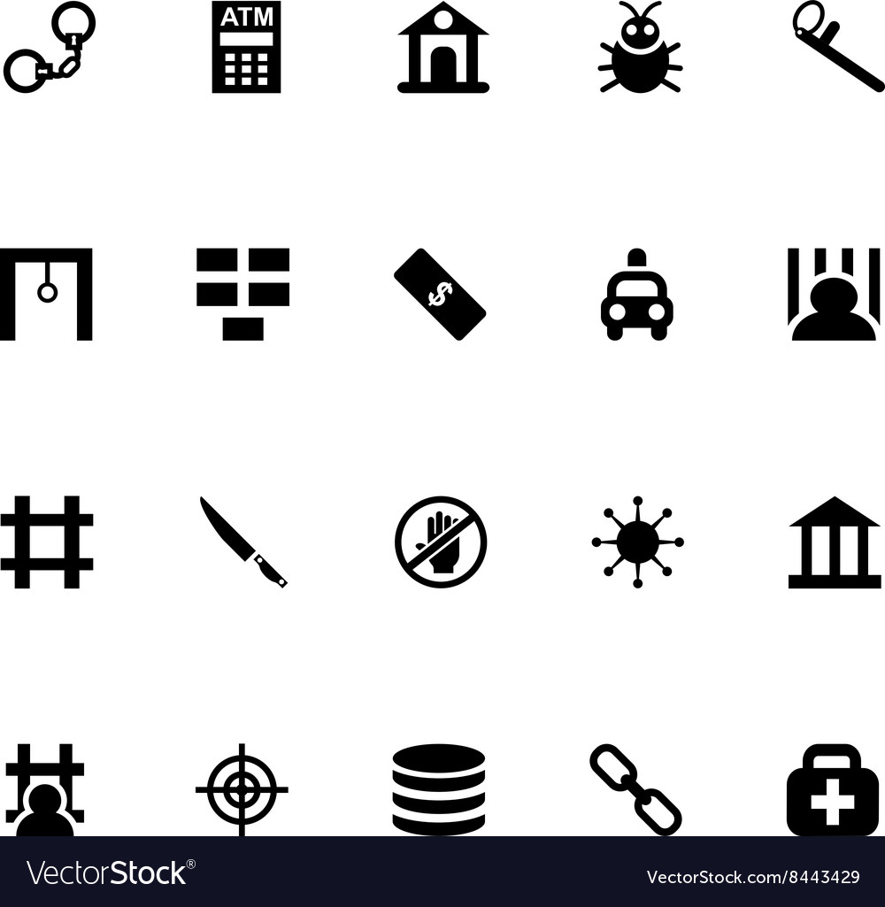 Crime Icons 5 vector image