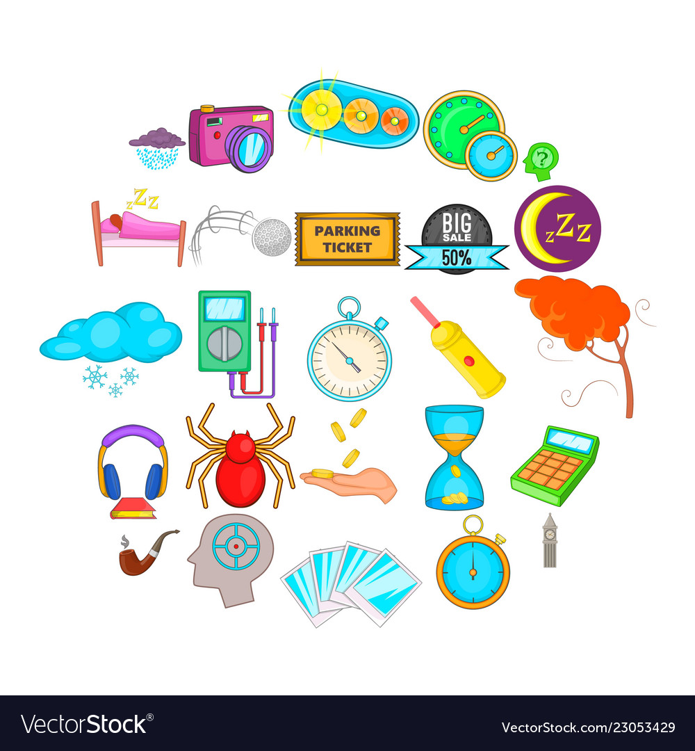 Detect time icons set cartoon style