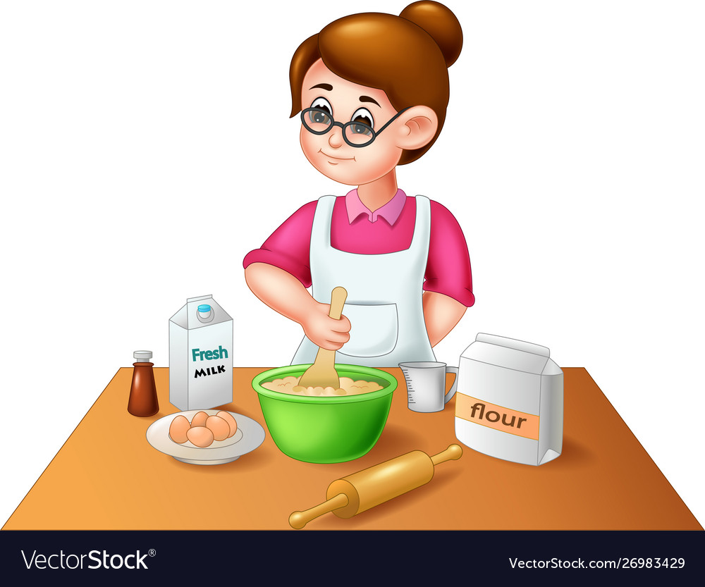 Funny Mom Cooking Cartoon Royalty Free Vector Image
