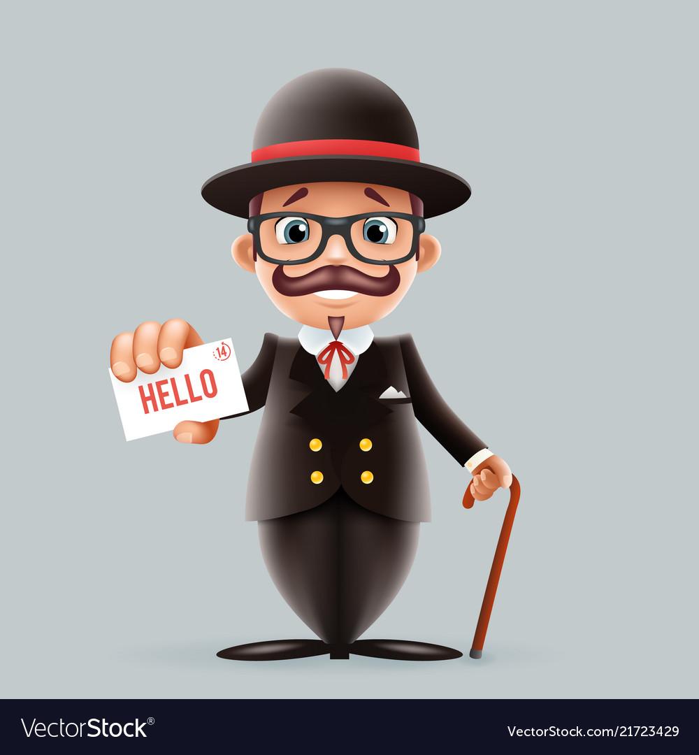 Great britain gentleman businessman cartoon