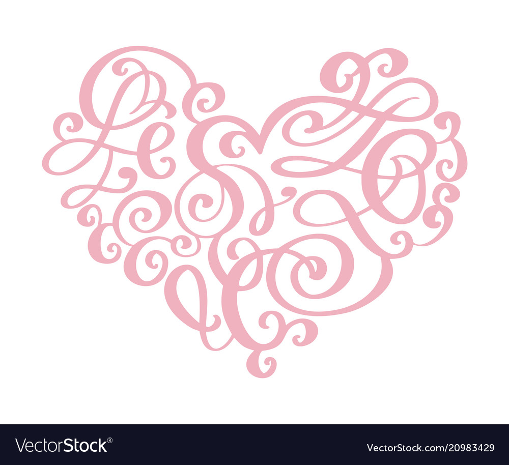 Hand drawn heart love valentine flourish separator vector image