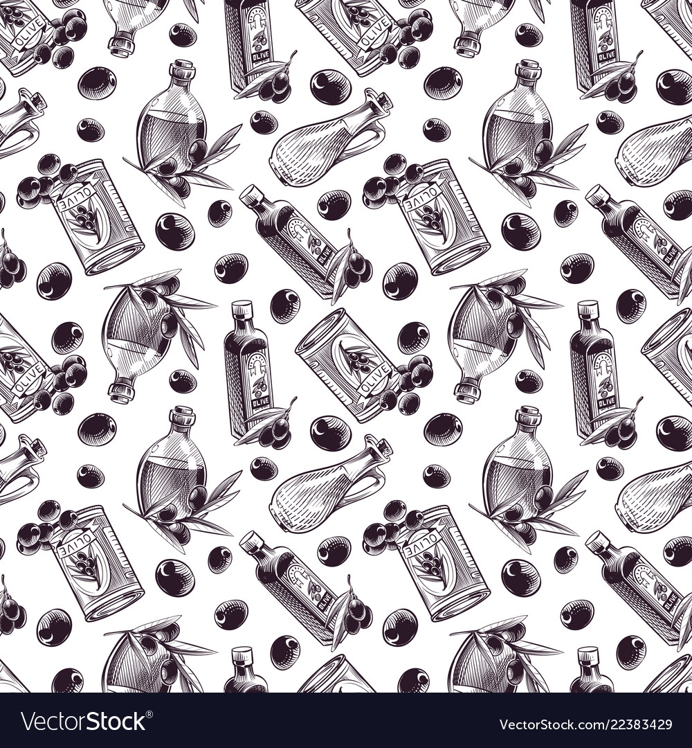 Hand drawn seamless pattern olive oil