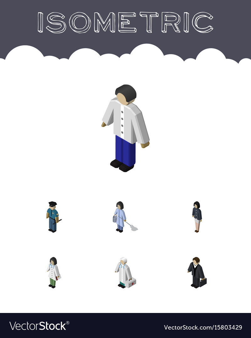 Isometric person set of medic male housemaid and