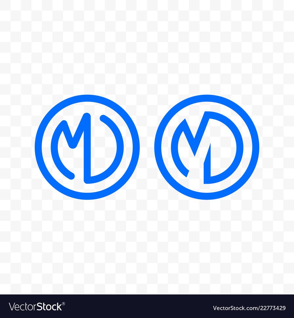 Letter m d ligature monogram line circle icon