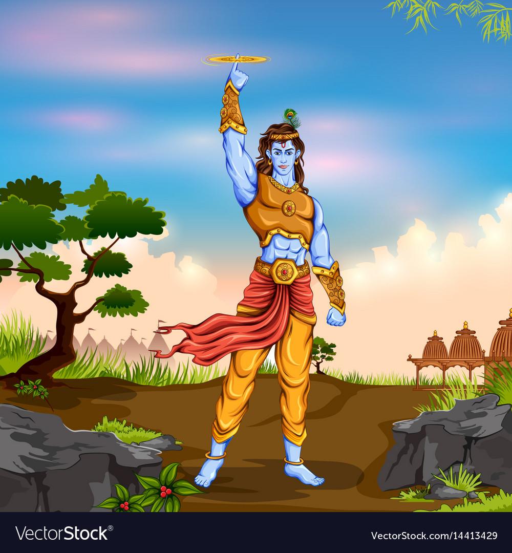 Lord Krishana Holding Sudarshan Chakra In Happy Vector Image