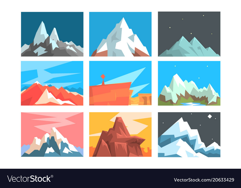 Mountain peaks and summits landscape