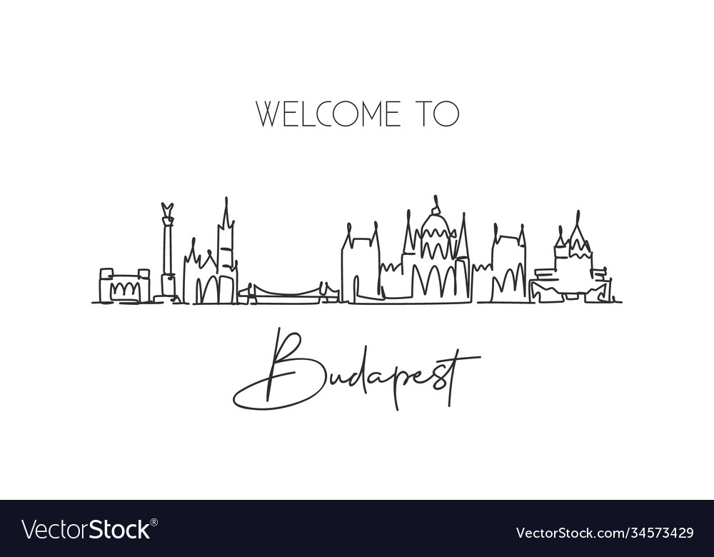 One continuous line drawing budapest city