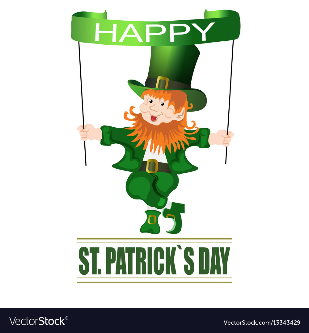 Patrick day cheerful leprechaun wishes of vector image