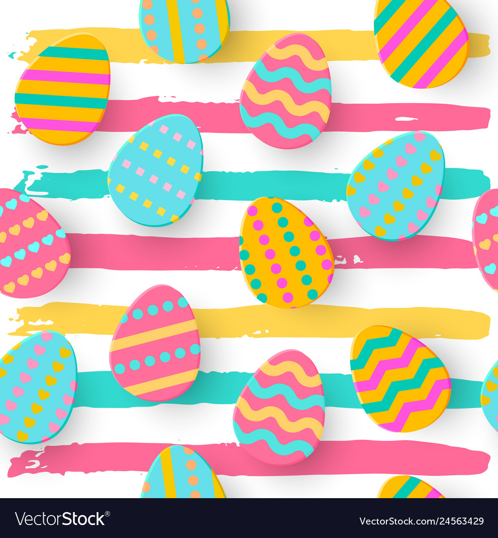 Seamless pattern of easter egg paper cut style
