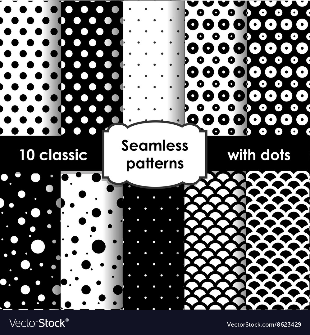 Set of classic black seamless patterns with dots vector image