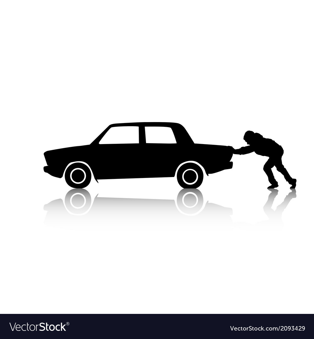 silhouette of man pushing a car royalty free vector image