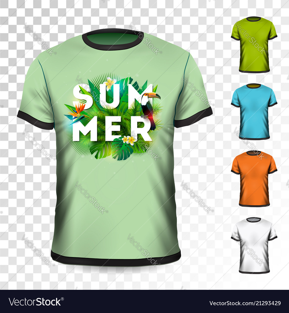 Summer holiday t-shirt design with tropical leaves