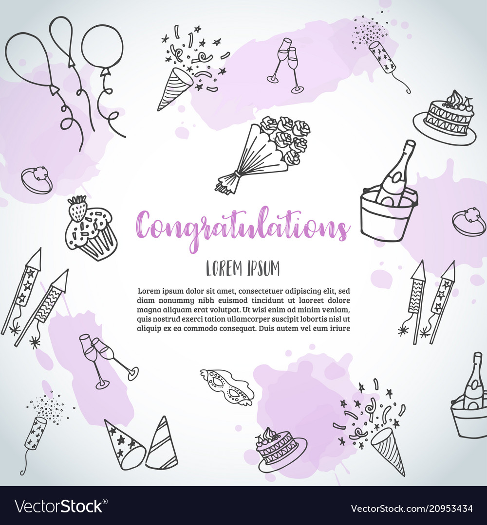 Birthday party doodle background template Vector Image