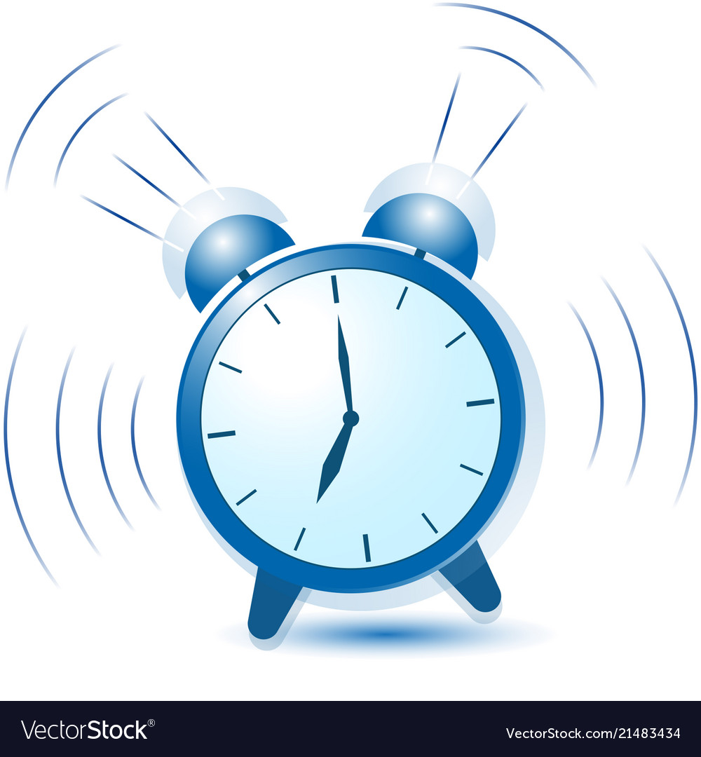 blue alarm clock sounds and vibrates royalty free vector