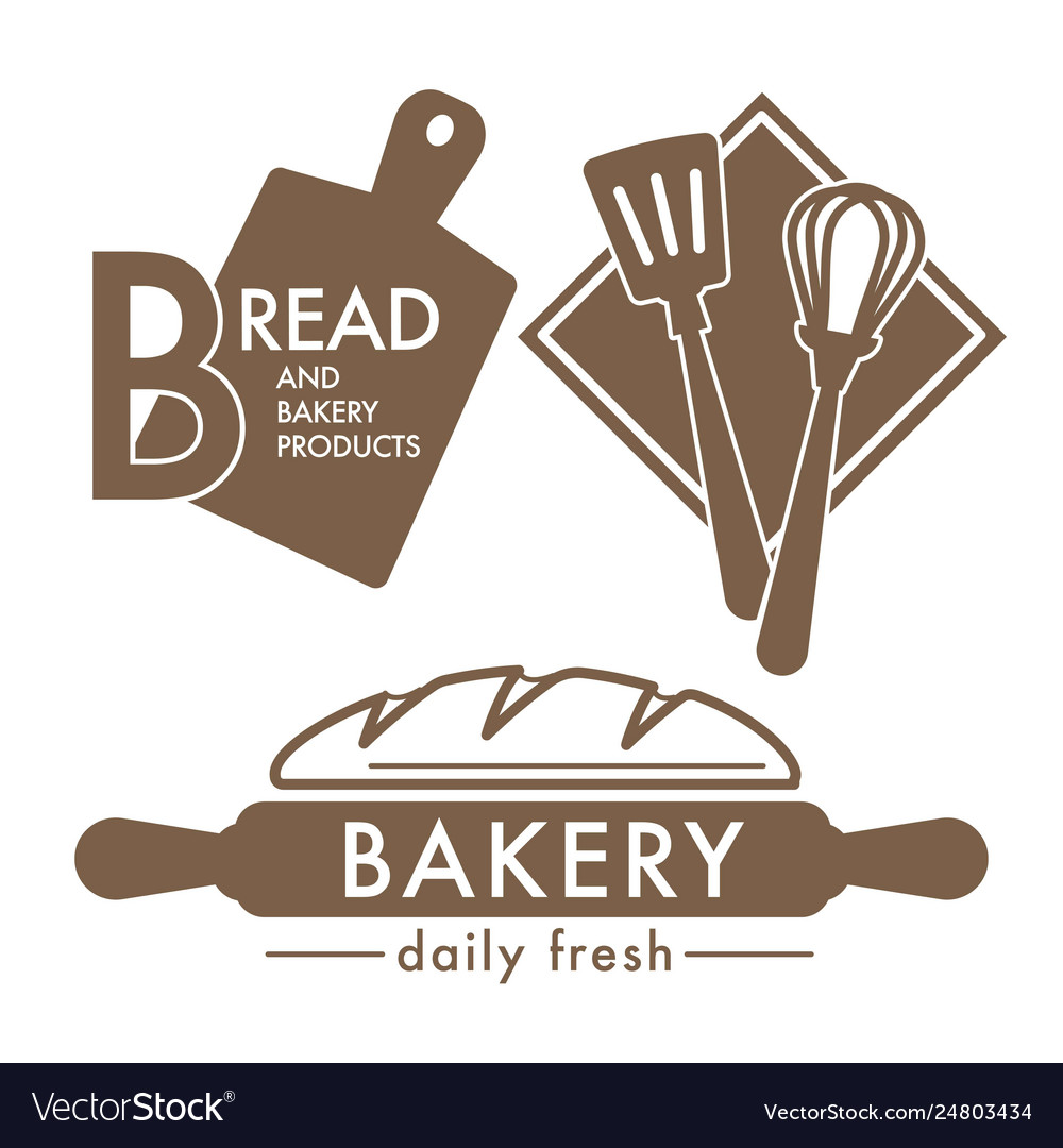 Bread isolated icons bakery shop kitchen tools and