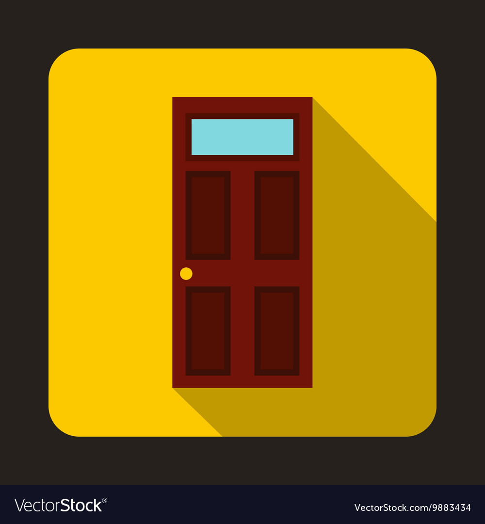 Brown wooden door with glass icon flat style