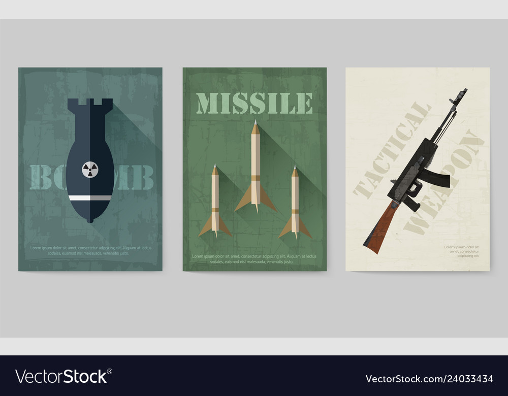 Cards of military equipment cards army template
