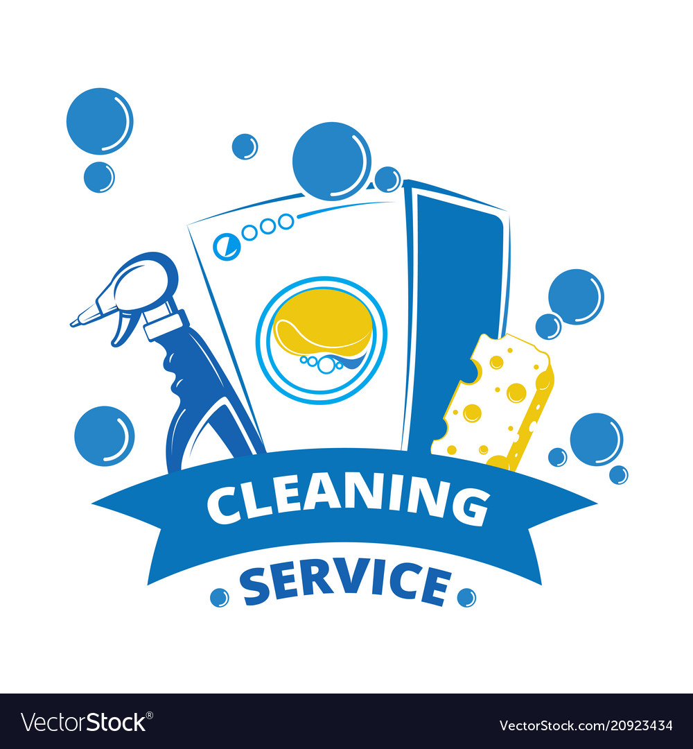 Cleaning service label design yellow and blue