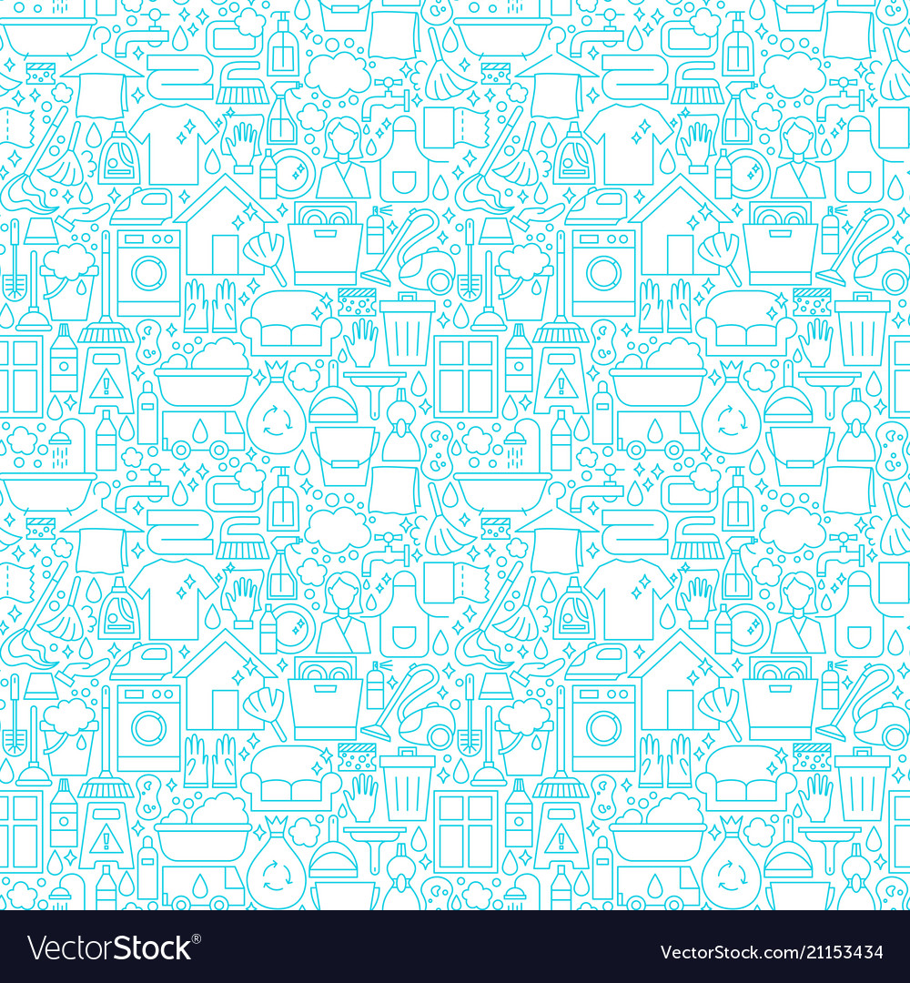 Cleaning white line seamless pattern