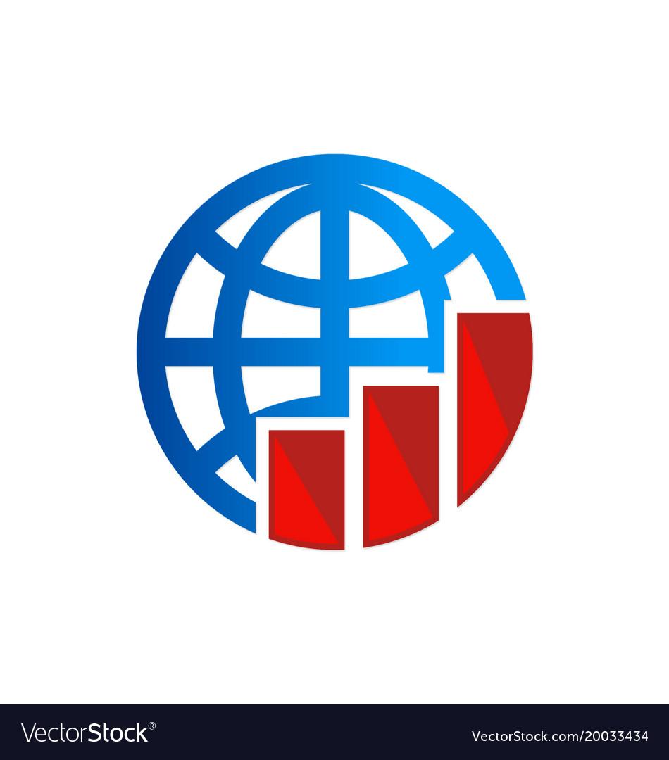 Globe chart business logo