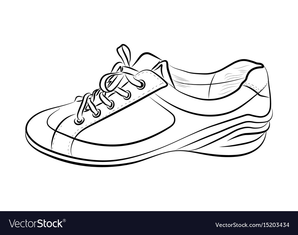 Hand drawn sketch of sport shoes sneakers for