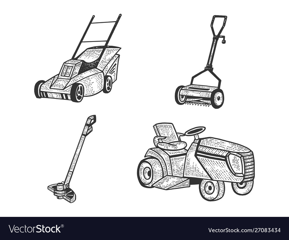 Lawn mower grass cutter set sketch