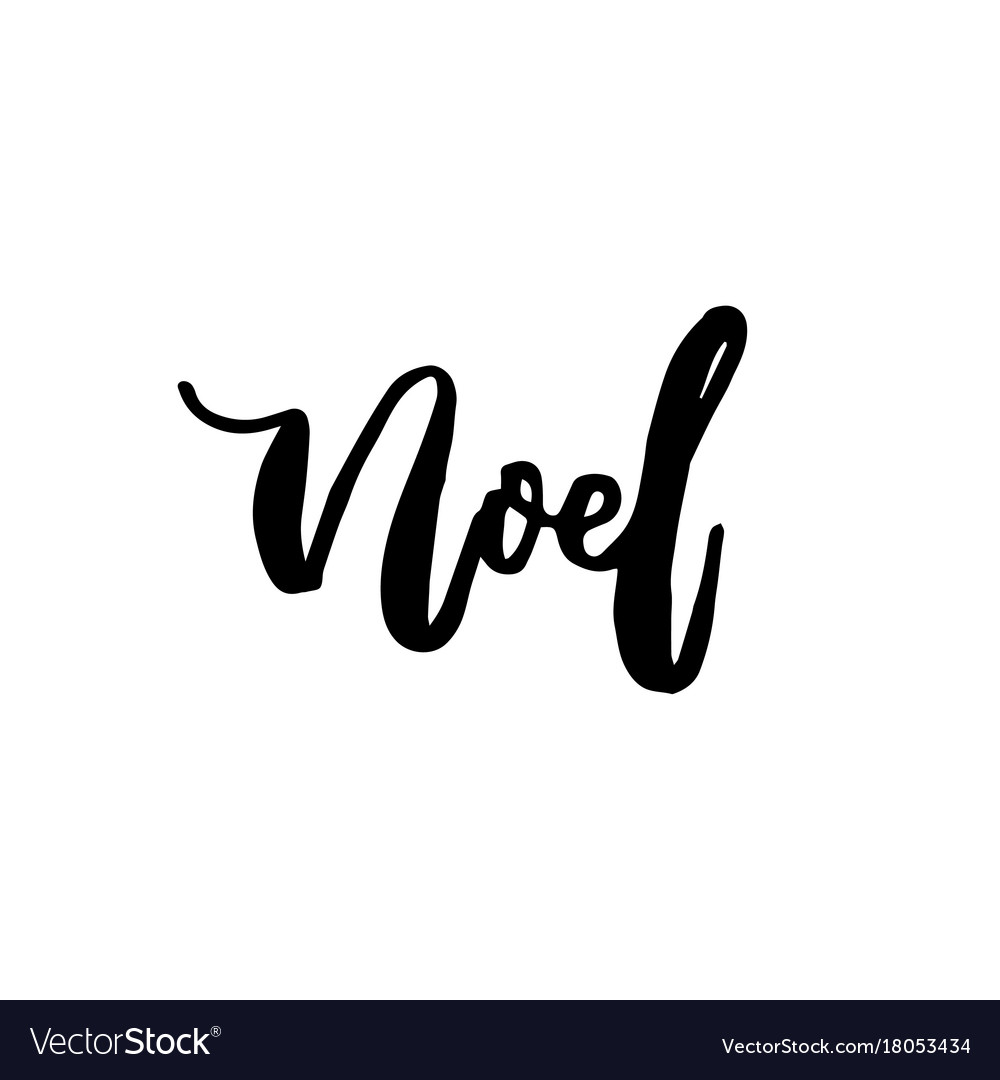 merry christmas card with calligraphy noel vector image