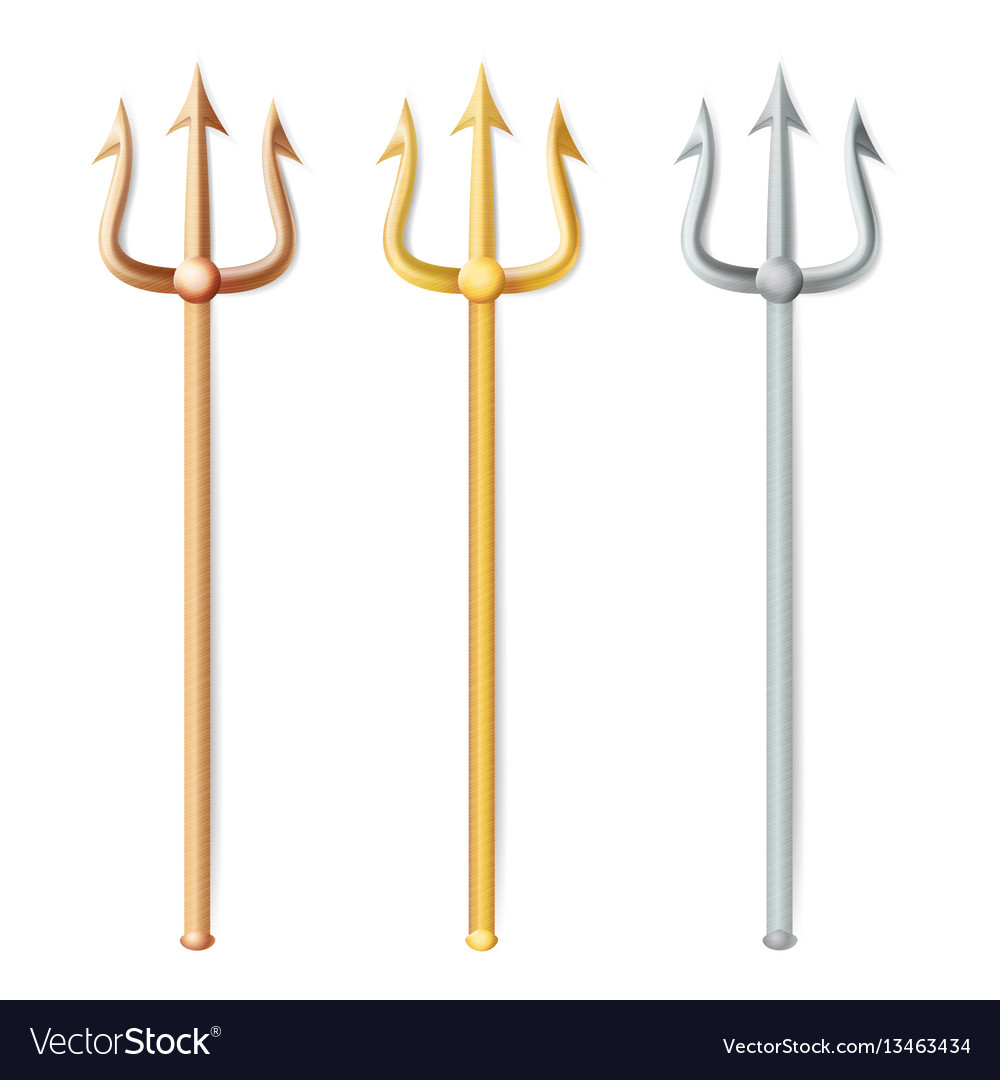 Neptune trident realistic 3d silhouette of