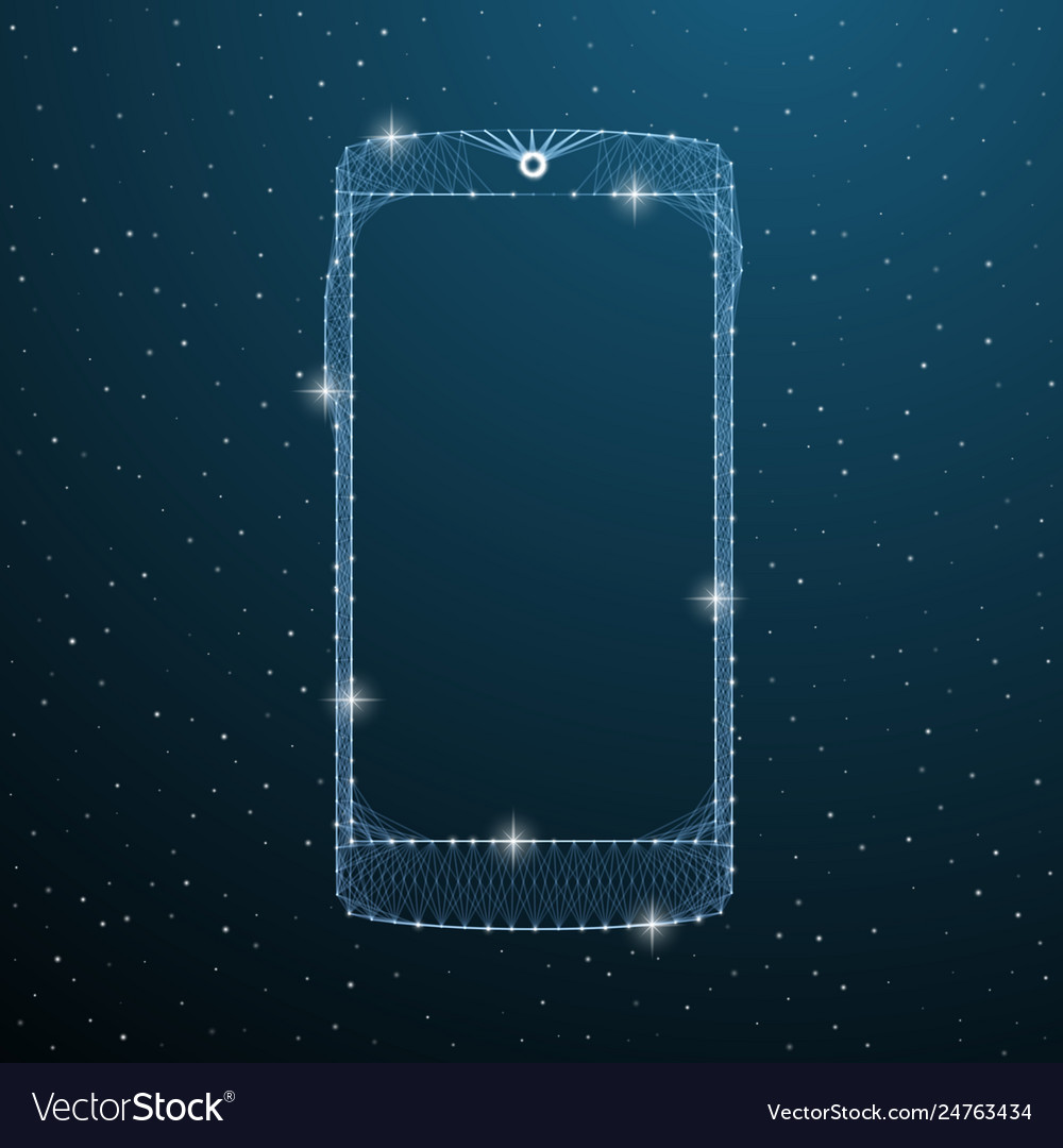 Smartphone touch screen display on blue space