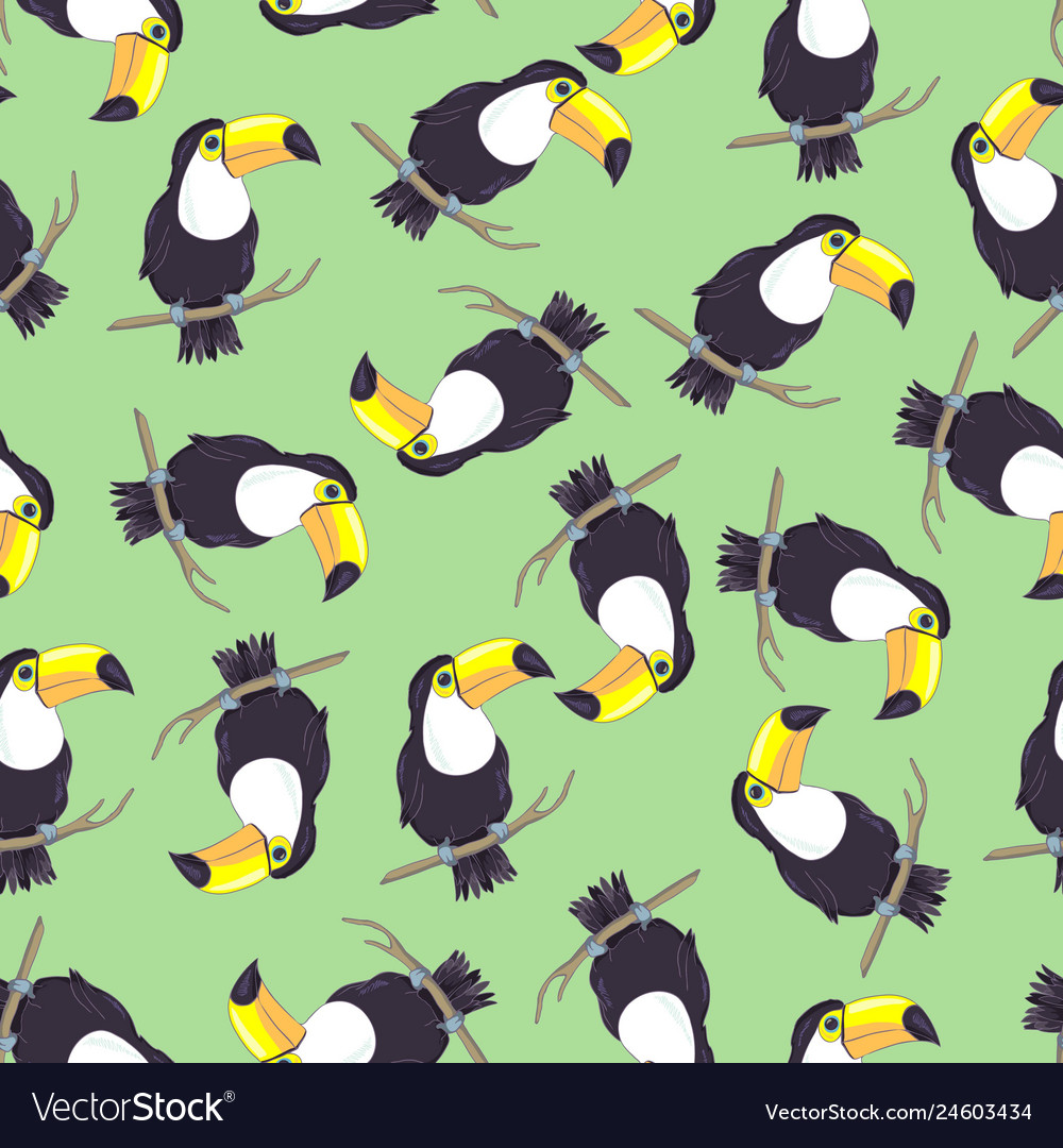 Tropical seamless pattern with toucans exotic