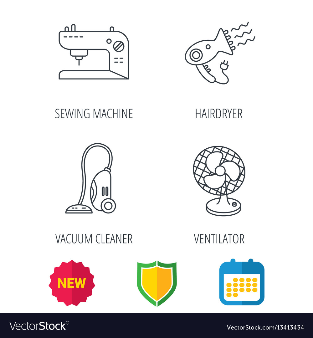 Ventilator sewing machine and hairdryer icons