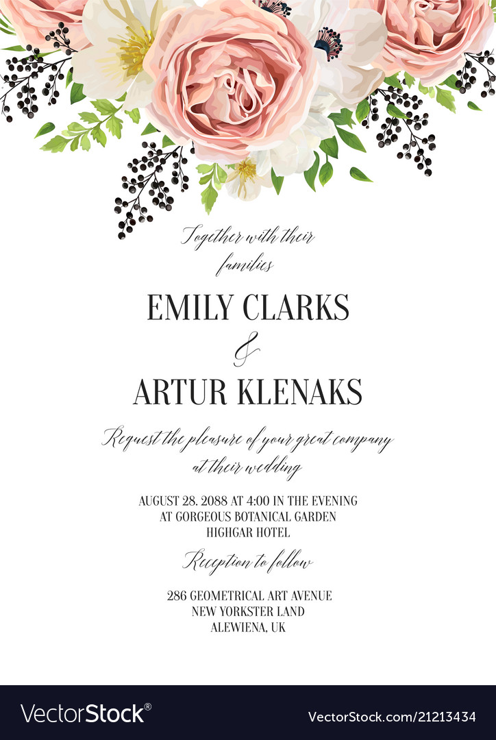 Wedding floral watercolor invitation save the
