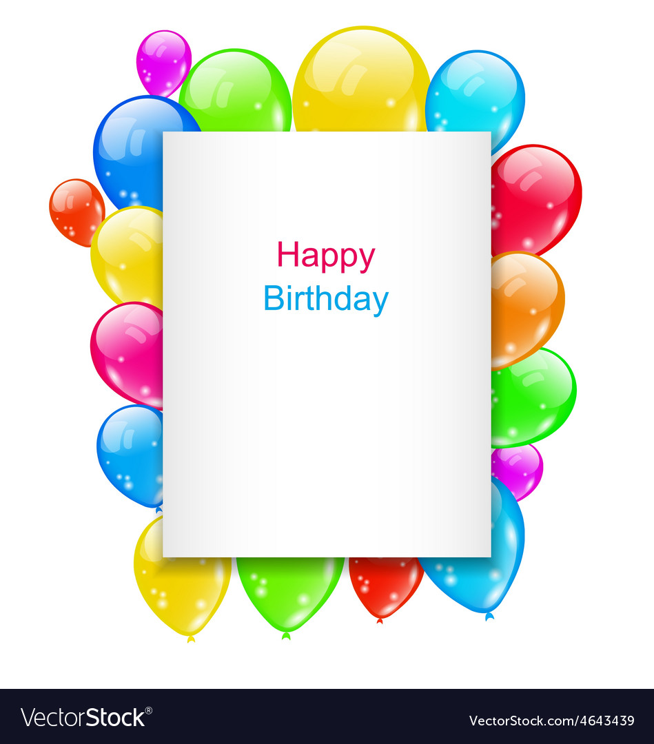 Birthday Postcard with Colorful Balloons with Text vector image