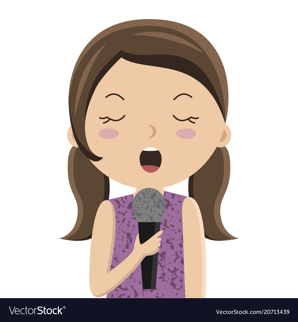 cartoon girl singing in microphone royalty free vector image rh vectorstock com cartoon picture girl singing cartoon girl singing images