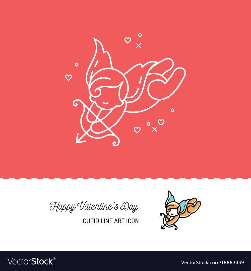 Cupid colorful line art icons love symbol