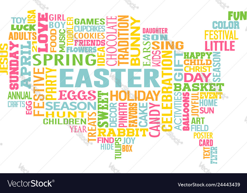 Easter in the united states of america word map