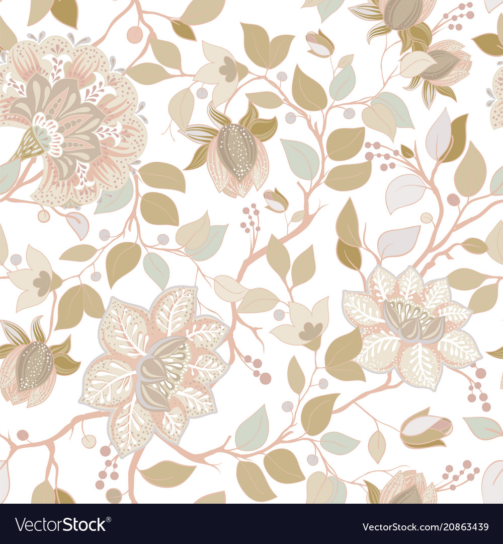 Light Floral Pattern Wallpaper With Big Royalty Free Vector