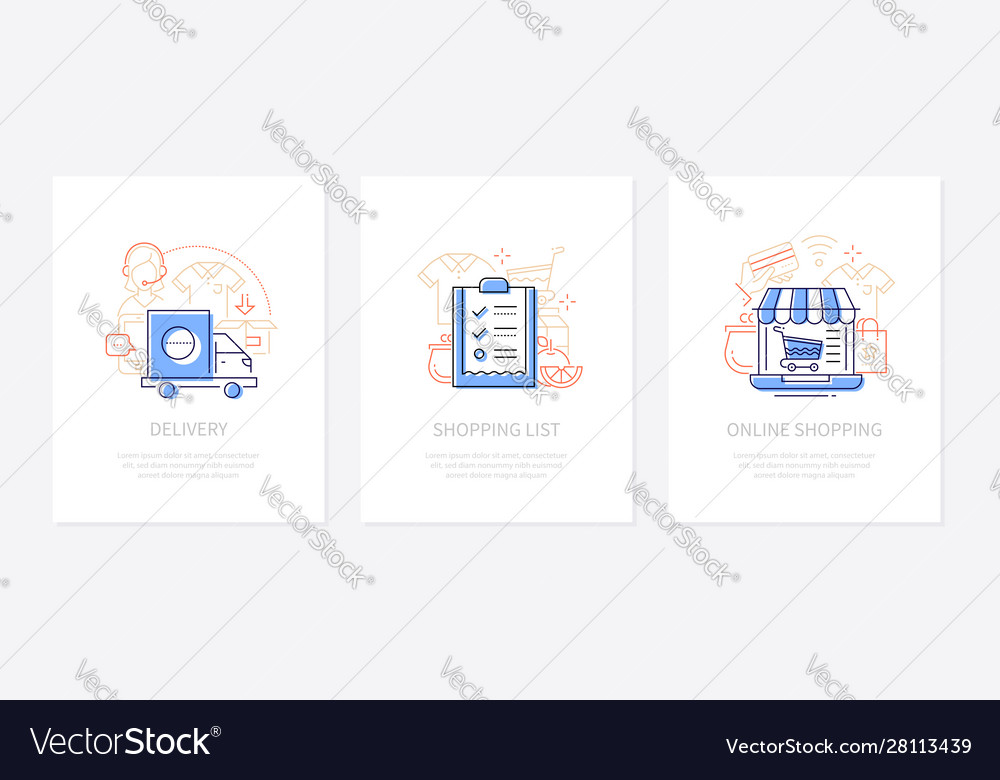 Online shopping - line design style banners