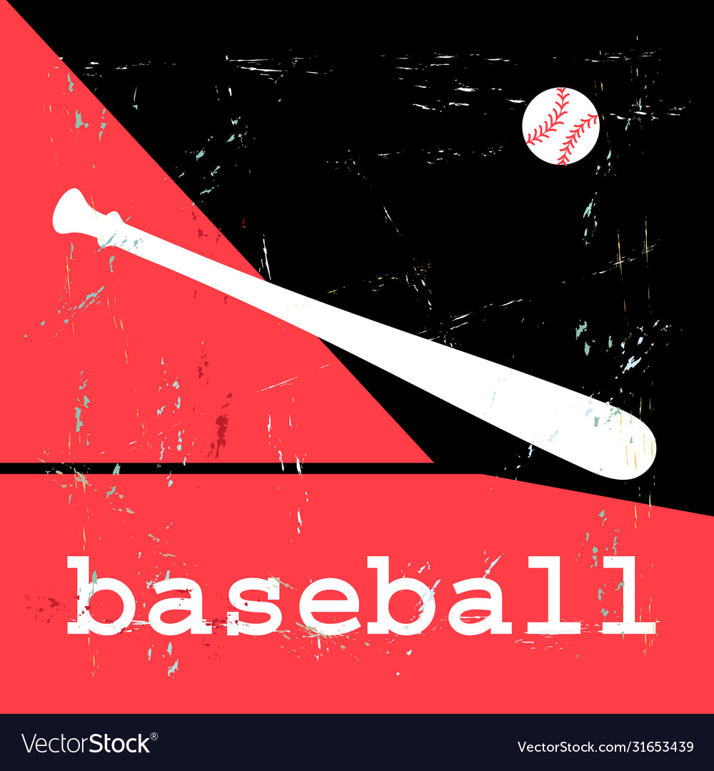 Poster with baseball objects