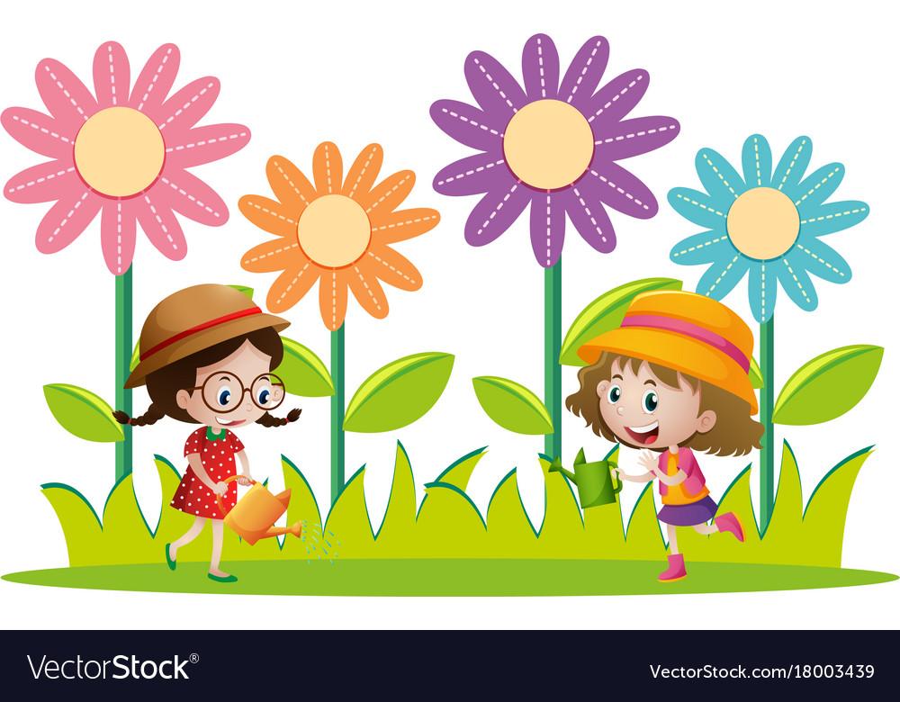 two girls watering flowers in the garden vector image - The Girls In The Garden