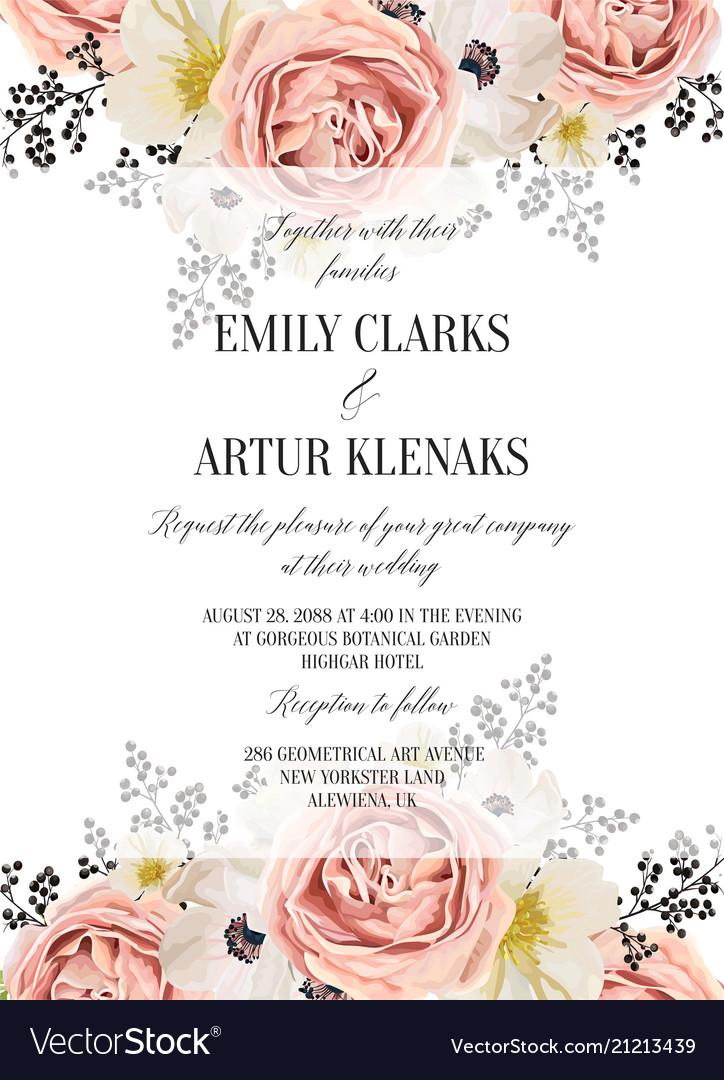 Wedding Floral Watercolor Invite Card Design Vector Image