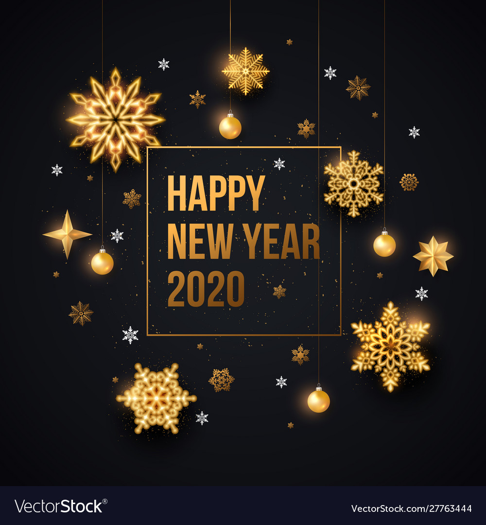 2020 happy new year background with gold