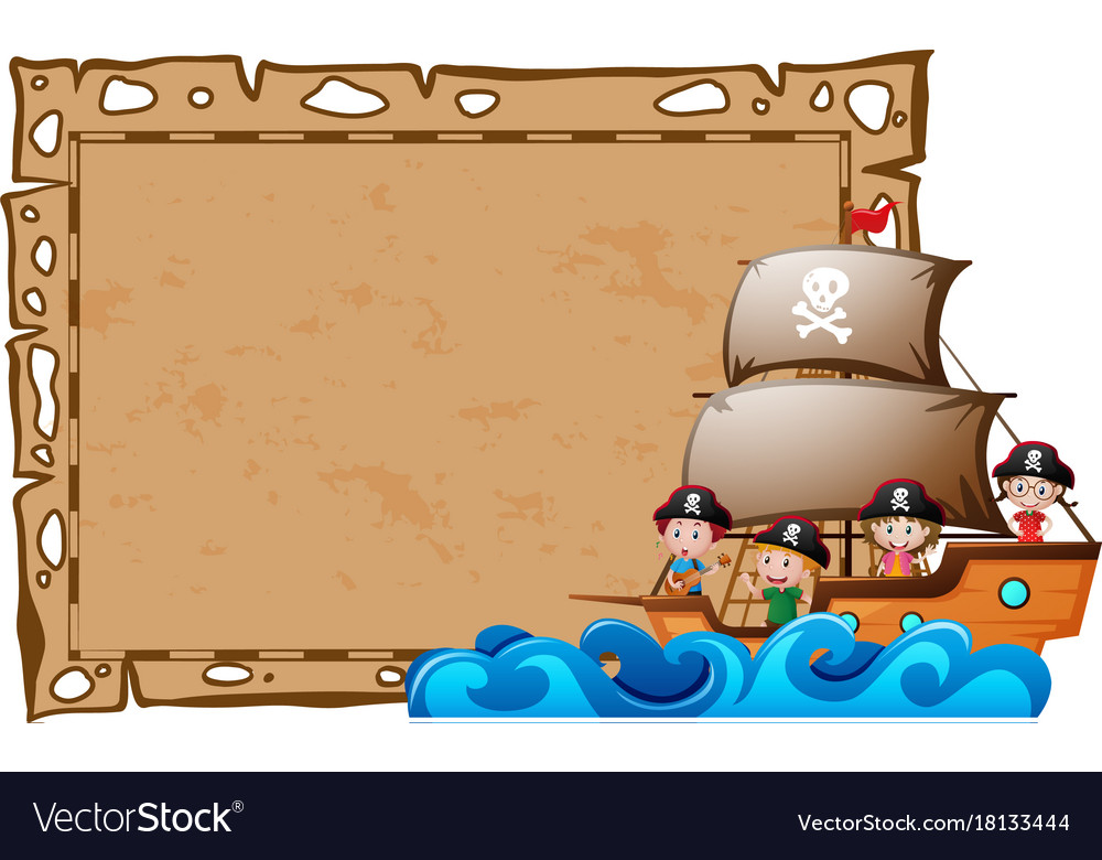 border template with kids as pirates royalty free vector